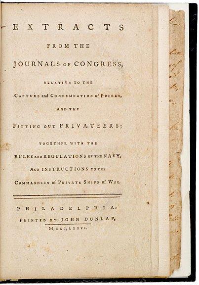 6: SAMUEL ADAMS, 1776 Manuscript, Rules of the Navy