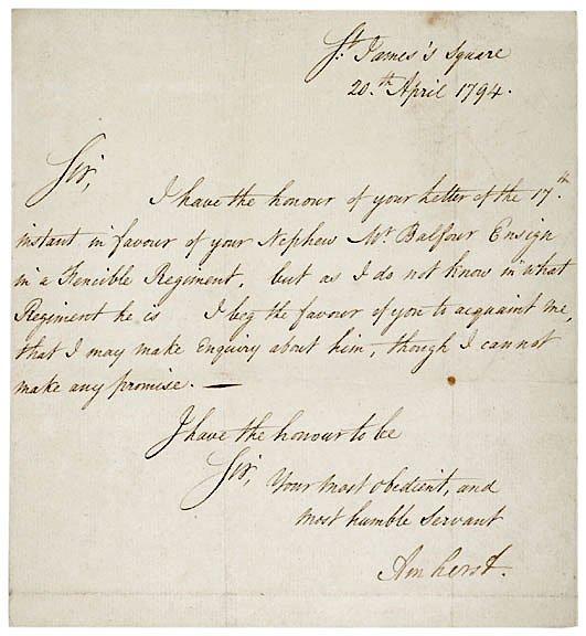 8: JEFFREY AMHERST, 1794, Letter Signed
