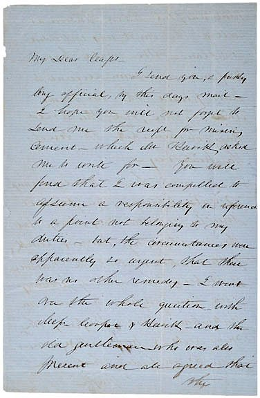 9: ROBERT ANDERSON, Signed Letter (1856)