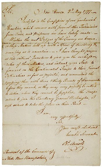 10: BENEDICT ARNOLD, Autographed Letter and Document