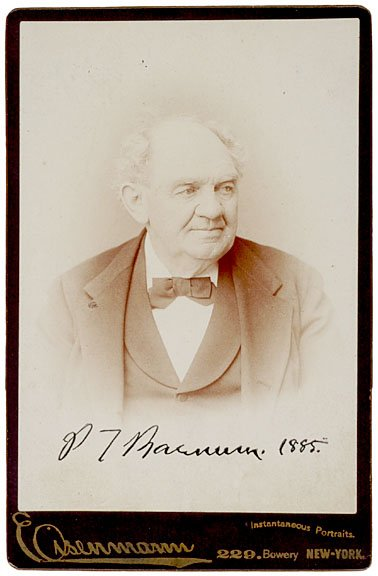 18: PHINEAS T. BARNUM, Signed CDV, 1885
