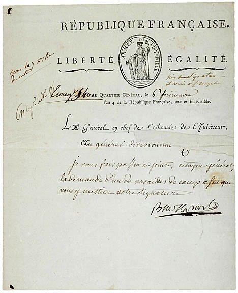 21: NAPOLEON BONAPARTE Signed Letter 1795