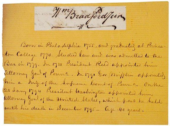 22: Attorney Gen. WILLIAM BRADFORD, Clipped Signature