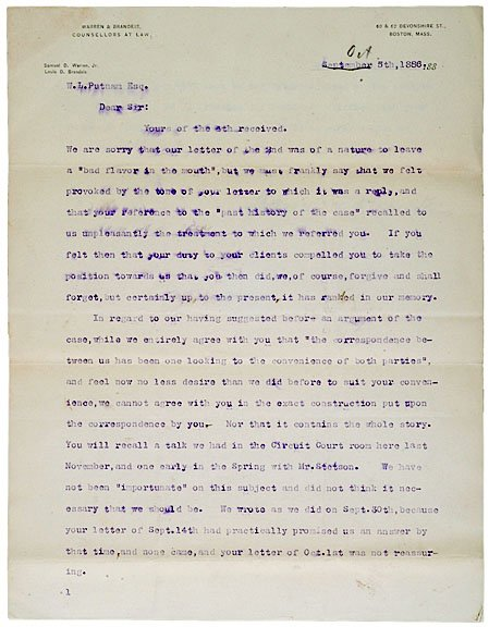 23: LOUIS D. BRANDEIS, Typed Letter Signed, 1886