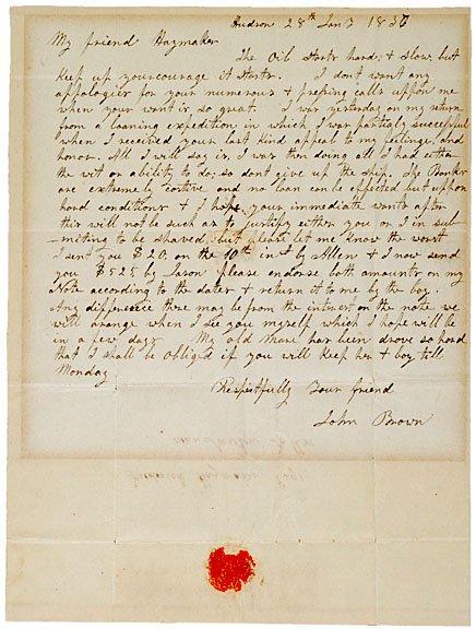 24: Antislavery Activist JOHN BROWN Autograph Letter