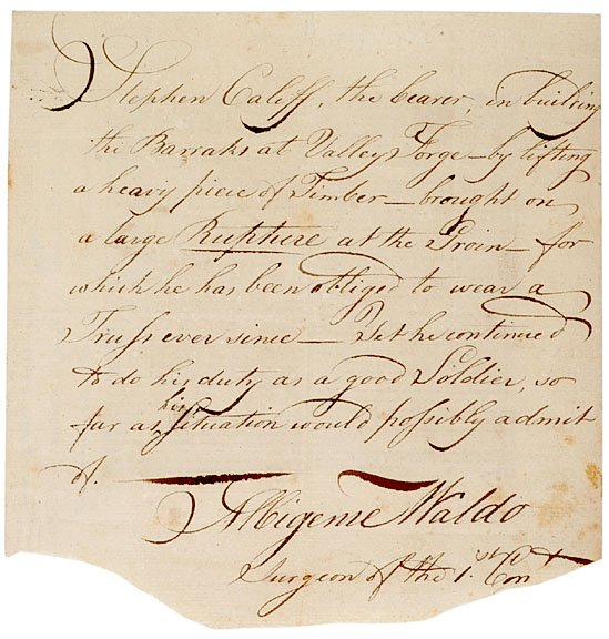 278: Signed Medical Document, Valley Forge, c. 1778