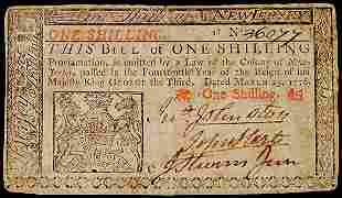 JOHN HART Signed Colonial Currency,1s NJ 1776