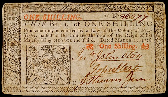 640: JOHN HART Signed Colonial Currency,1s NJ 1776