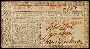 JOHN HART Signed Colonial Currency, 30s NJ 1776