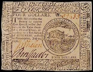 BENJAMIN JACOBS Signed Colonial Currency $4 1776