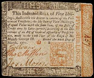 Thomas Mifflin Signed Colonial Currency,1771