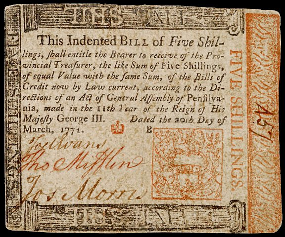 645: Thomas Mifflin Signed Colonial Currency,1771