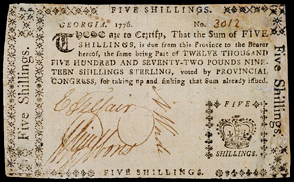 646: TELFAIR - GIBBONS, Signed Colonial Currency,1777
