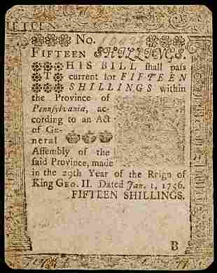 Colonial Currency, Printed by B. Franklin, 1756