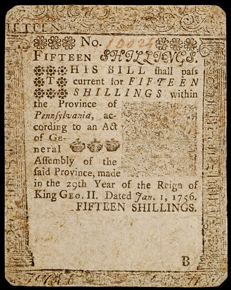 647: Colonial Currency, Printed by B. Franklin, 1756