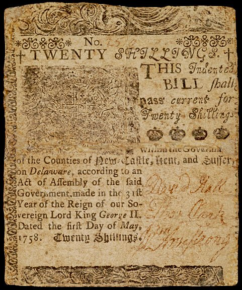 648: Colonial Currency, Printed by B. Franklin, 1758