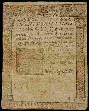 Colonial Currency, Printed by B. Franklin, 1758