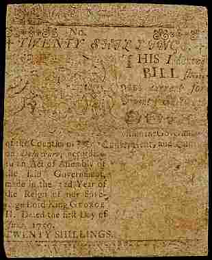 Colonial Currency, Printed by B. Franklin, 1759