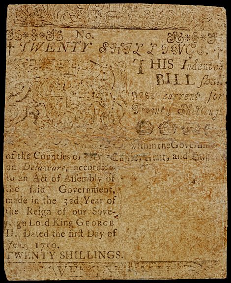 650: Colonial Currency, Printed by B. Franklin, 1759