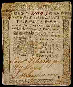 Colonial Currency, Printed by B. Franklin, 1764