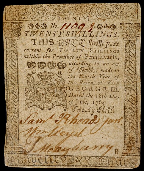 651: Colonial Currency, Printed by B. Franklin, 1764