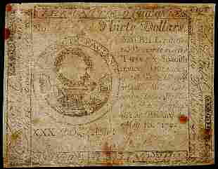 Continental Currency, May 10, 1775, $30, Tory