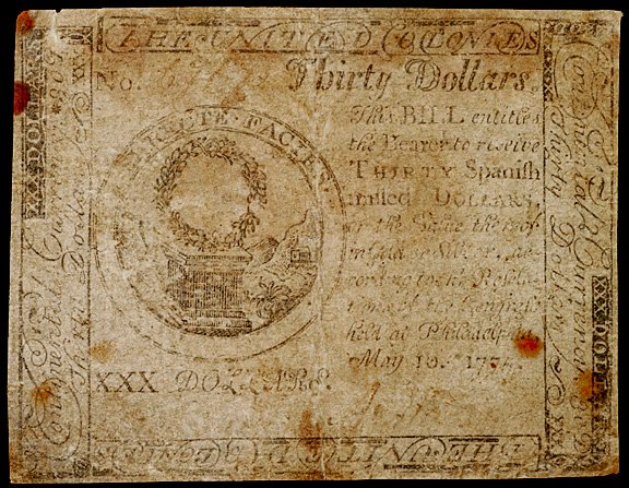 652: Continental Currency, May 10, 1775, $30, Tory