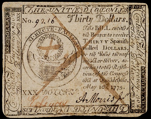 653: Continental Currency, May 10, 1775, $30, Tory