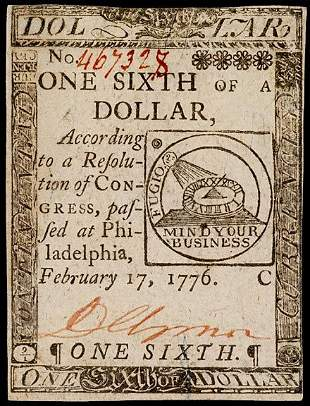 Continental Currency, Feb. 17, 1776, $1/6, FUGIO