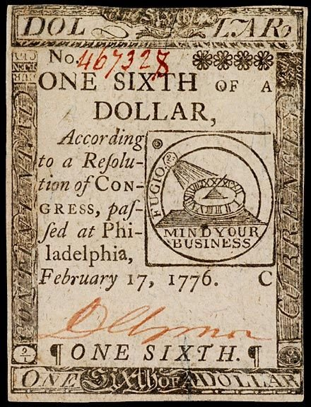 654: Continental Currency, Feb. 17, 1776, $1/6, FUGIO