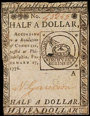 Continental Currency, Feb. 17, 1776, $1/2, FUGIO