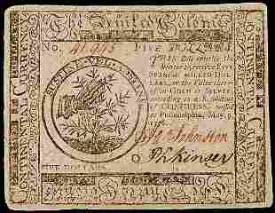 Continental Currency, May 9, 1776, $5