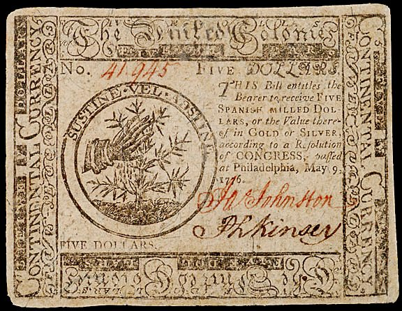656: Continental Currency, May 9, 1776, $5