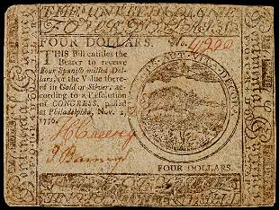 Continental Currency, Nov. 2, 1776, $4