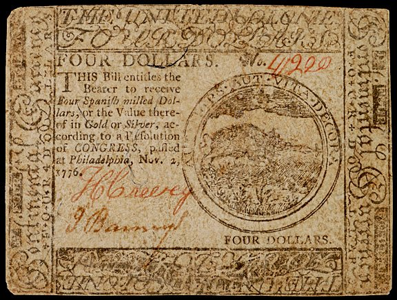 657: Continental Currency, Nov.  2, 1776, $4