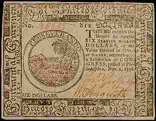 Continental Currency, Nov. 2, 1776, $6
