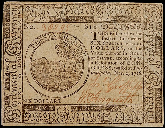 658: Continental Currency, Nov.  2, 1776, $6