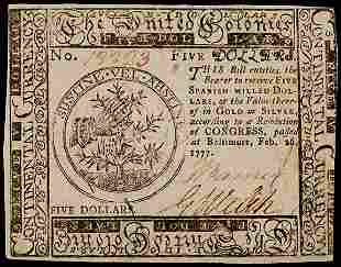 Continental Currency, Feb. 26, 1777 $5