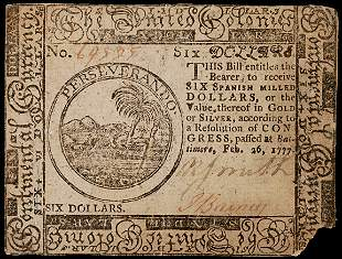Continental Currency, Feb. 26, 1777 $6