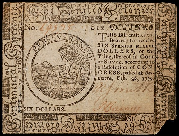 660: Continental Currency, Feb. 26, 1777 $6