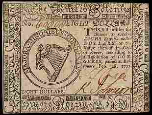 Continental Currency, Feb. 26, 1777 $8
