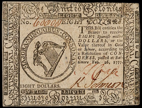 661: Continental Currency, Feb. 26, 1777 $8