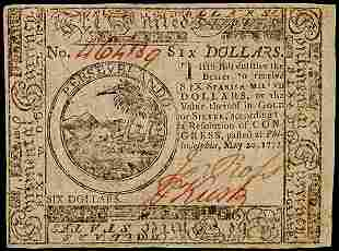 Continental Currency, May 20, 1777 $6, United Stat