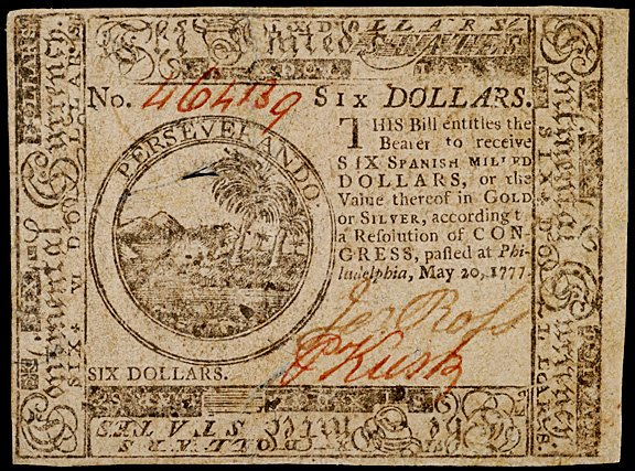663: Continental Currency, May 20, 1777 $6, United Stat