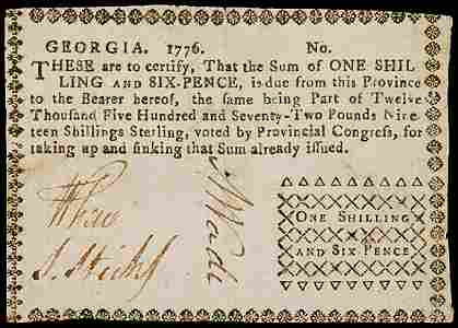 694: Colonial Currency, GA, 1776,  Sterling,  1s6d