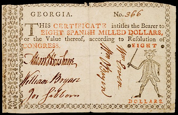 696: Colonial Currency, GA, no date (1776),  $8