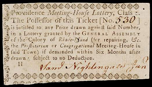 854: Colonial Lottery Ticket,  c. 1760, Providence