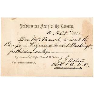 861 Civil War COL. JOHN JACOB ASTOR Signed Pass