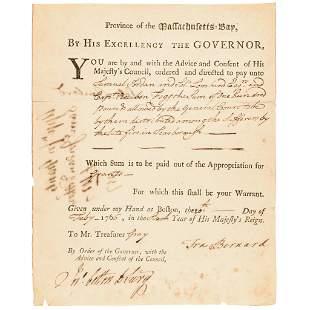 1766 Gov. SIR FRANCIS BERNARD Aids Fire Sufferers