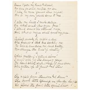 JOHN BURROUGHS Signed Manuscript Poem - WAITING